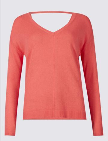 Marks & Spencer Textured V-neck Jumper With Linen Sunset