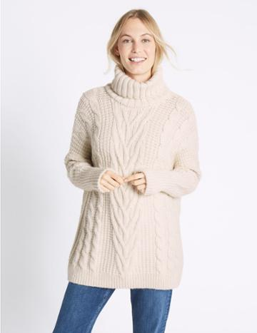 Marks & Spencer Cable Knit Turtle Neck Jumper Cream