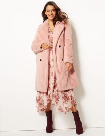 Marks & Spencer Double Breasted Faux Fur Coat Blush Pink