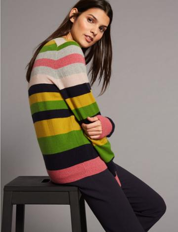 Marks & Spencer Pure Cashmere Striped Round Neck Jumper Grey Mix