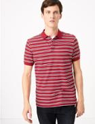 Marks & Spencer Pure Cotton Striped Polo Shirt Red