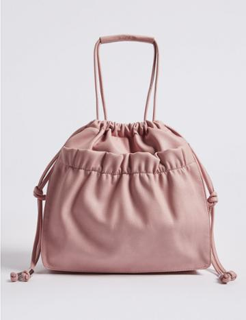 Marks & Spencer Faux Leather Slouchy Shopper Bag Pale Pink