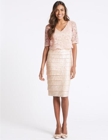 Marks & Spencer Lace Shutter Pleated Shift Midi Dress Blush