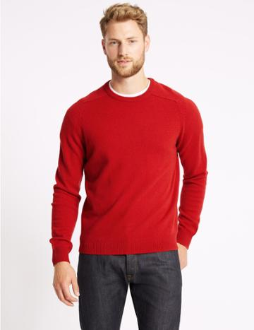 Marks & Spencer Pure Extra Fine Lambswool Crew Neck Jumper Ruby Red