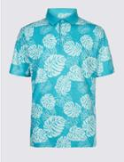Marks & Spencer Pure Cotton Printed Polo Shirt Blue Mix