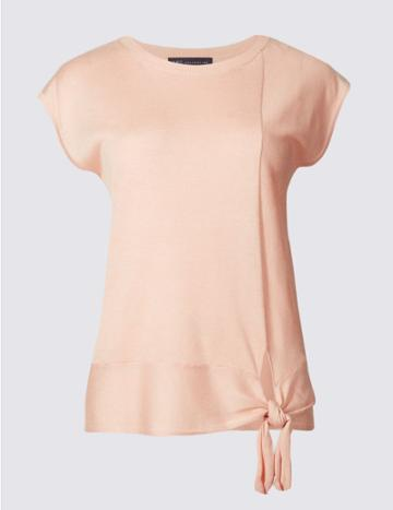 Marks & Spencer Side Tie Round Neck Cap Sleeve Jumper Blush