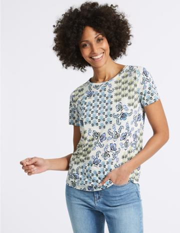 Marks & Spencer Geometrical Print Short Sleeve T-shirt Khaki Mix