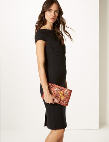 Marks & Spencer Velvet Embroidered Clutch Bag Blush
