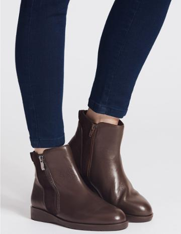 Marks & Spencer Leather Side Zip Ankle Boots Chocolate