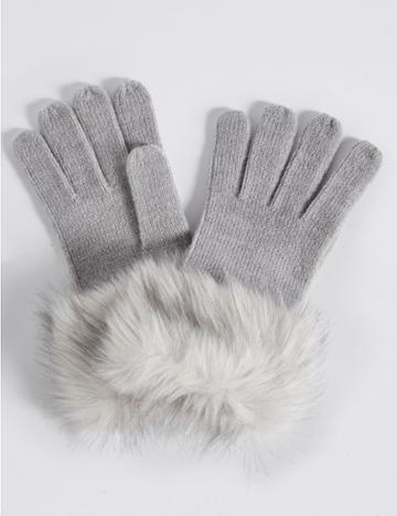 Marks & Spencer Faux Fur Cuff Gloves With Thinsulate™ Grey