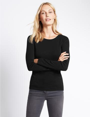 Marks & Spencer Pure Cotton Round Neck Long Sleeve T-shirt Black