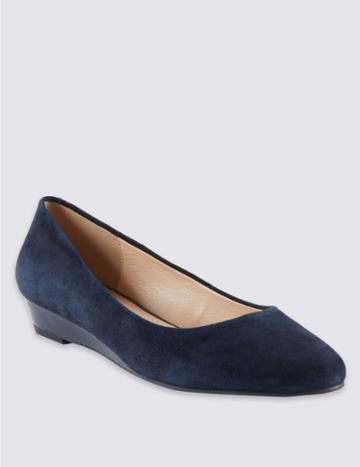 Marks & Spencer Suede Wedge Heel Court Shoes Navy Mix