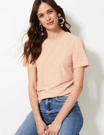 Marks & Spencer Textured Regular Fit Short Sleeve T-shirt Blush
