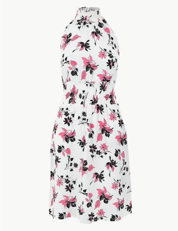 Marks & Spencer Floral Print Waisted Dress Ivory Mix