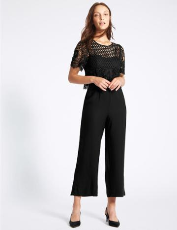 Marks & Spencer Lace Overlay Half Sleeve Jumpsuit Black