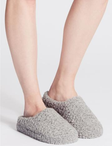Marks & Spencer Curly Fur Mule Slippers Grey