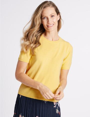 Marks & Spencer Round Neck Short Sleeve Jumper Citrus