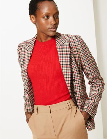 Marks & Spencer Checked Double Breasted Blazer Camel Mix