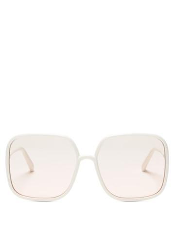 Matchesfashion.com Dior - Diorsostellaire Square Acetate Sunglasses - Womens - White