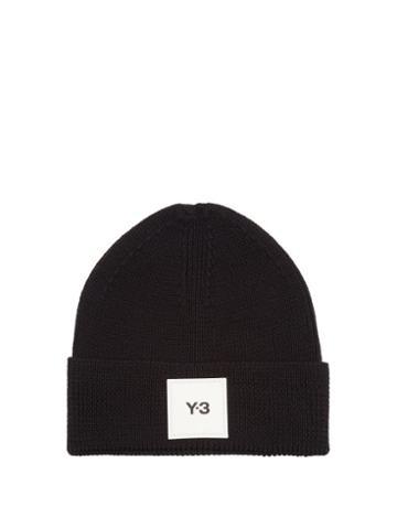 Y-3 - Logo-patch Wool Beanie Hat - Mens - Black