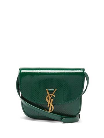 Saint Laurent - Kaia Small Ysl-plaque Ayers Cross-body Bag - Womens - Green