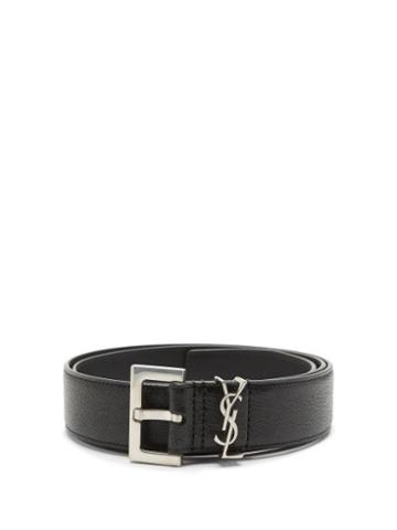 Matchesfashion.com Saint Laurent - Ysl-monogram Leather Belt - Mens - Black