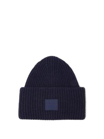 Acne Studios - Pansy Face Patch Wool Beanie Hat - Womens - Navy