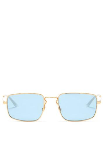 Ray-ban - Rectangular Metal Sunglasses - Womens - Light Blue