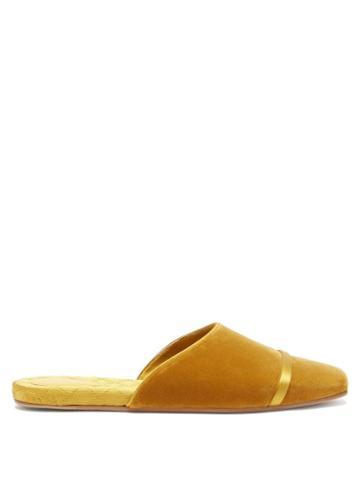 Malone Souliers - Rene Backless Velvet Flats - Womens - Yellow