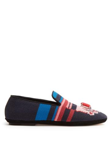 Matchesfashion.com Loewe - Needlepoint Slippers - Womens - Pink Navy