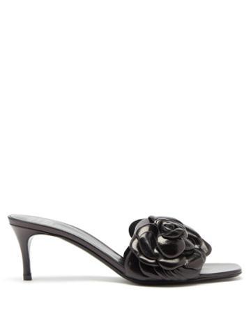 Matchesfashion.com Valentino Garavani - Atelier Petal-effect Leather Mules - Womens - Black