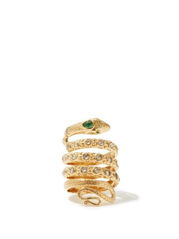 Matchesfashion.com Jade Jagger - Diamond, Emerald & 18kt Gold Snake Ring - Womens - Yellow Gold
