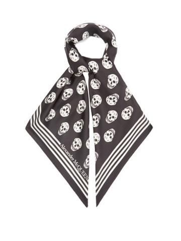 Matchesfashion.com Alexander Mcqueen - Skull-print Silk-twill Scarf - Womens - Black White