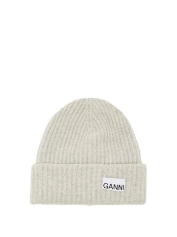 Ganni - Logo-patch Recycled Wool-blend Beanie Hat - Womens - Grey
