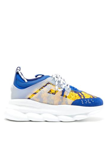 Matchesfashion.com Versace - Chain Reaction Twill And Suede Trainers - Mens - Blue Multi