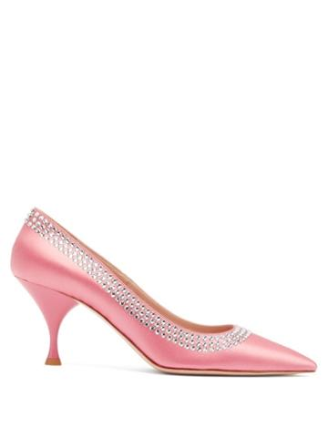 Matchesfashion.com Miu Miu - Crystal Embellished Point Toe Satin Pumps - Womens - Light Pink