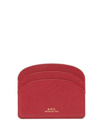 Matchesfashion.com A.p.c. - Half Moon Saffiano-leather Cardholder - Womens - Dark Red