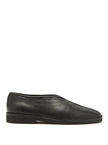 Matchesfashion.com Lemaire - Grained Leather Slippers - Mens - Black