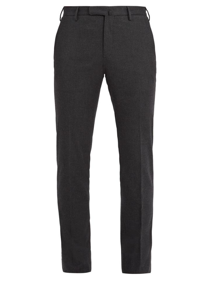 Incotex Slim-fit Micro-check Cotton-blend Trousers