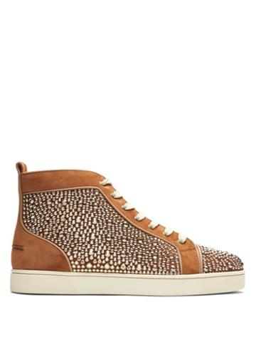 Matchesfashion.com Christian Louboutin - Louis Orlato High Top Leather Trainers - Mens - Brown Multi