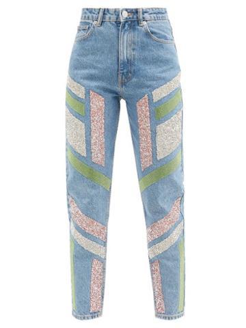 Matchesfashion.com Germanier - Embellished High-rise Straight-leg Jeans - Womens - Denim Multi
