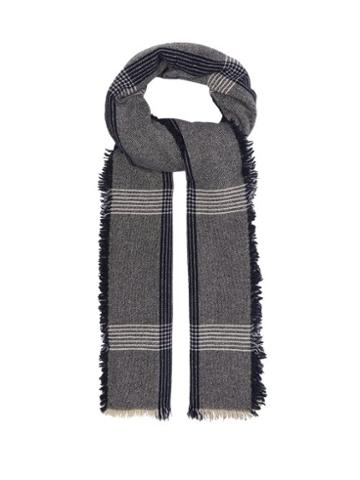 Matchesfashion.com Begg & Co. - Beaufort Wool Blend Fringed Scarf - Mens - Navy