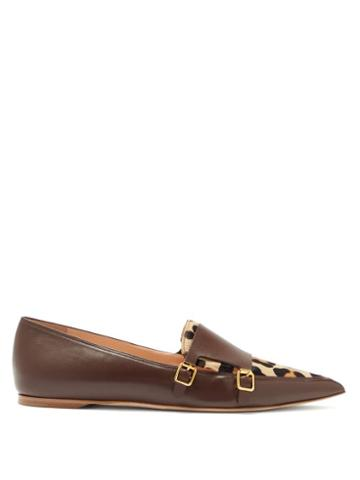 Matchesfashion.com Rupert Sanderson - Niwin Point-toe Leather And Pony Hair Monk Flats - Womens - Burgundy Multi