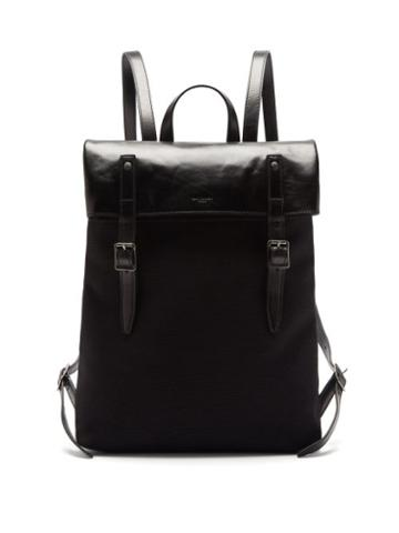 Matchesfashion.com Saint Laurent - Leather-trimmed Cotton-canvas Backpack - Mens - Black