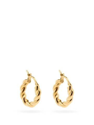 Matchesfashion.com Bottega Veneta - Twisted 18kt Gold-plated Hoop Earrings - Womens - Yellow Gold