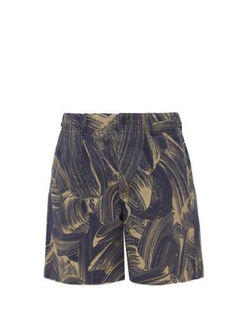 Matchesfashion.com Raey - Sponge Print Denim Shorts - Mens - Navy Multi