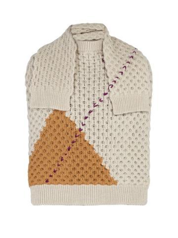 Matchesfashion.com Raf Simons - Sweater Inspired Wool Scarf - Mens - White