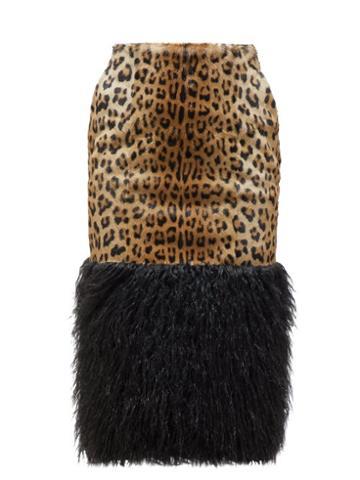 Matchesfashion.com Saint Laurent - High Rise Faux Shearling & Ponyhair Pencil Skirt - Womens - Leopard