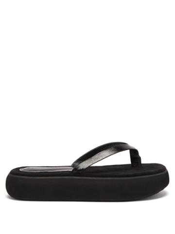 Matchesfashion.com Osoi - Boat Leather Platform Flip Flops - Womens - Black