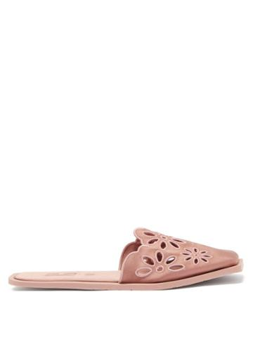Ladies Shoes Carlotha Ray - Floral-embroidered Satin Slippers - Womens - Pink